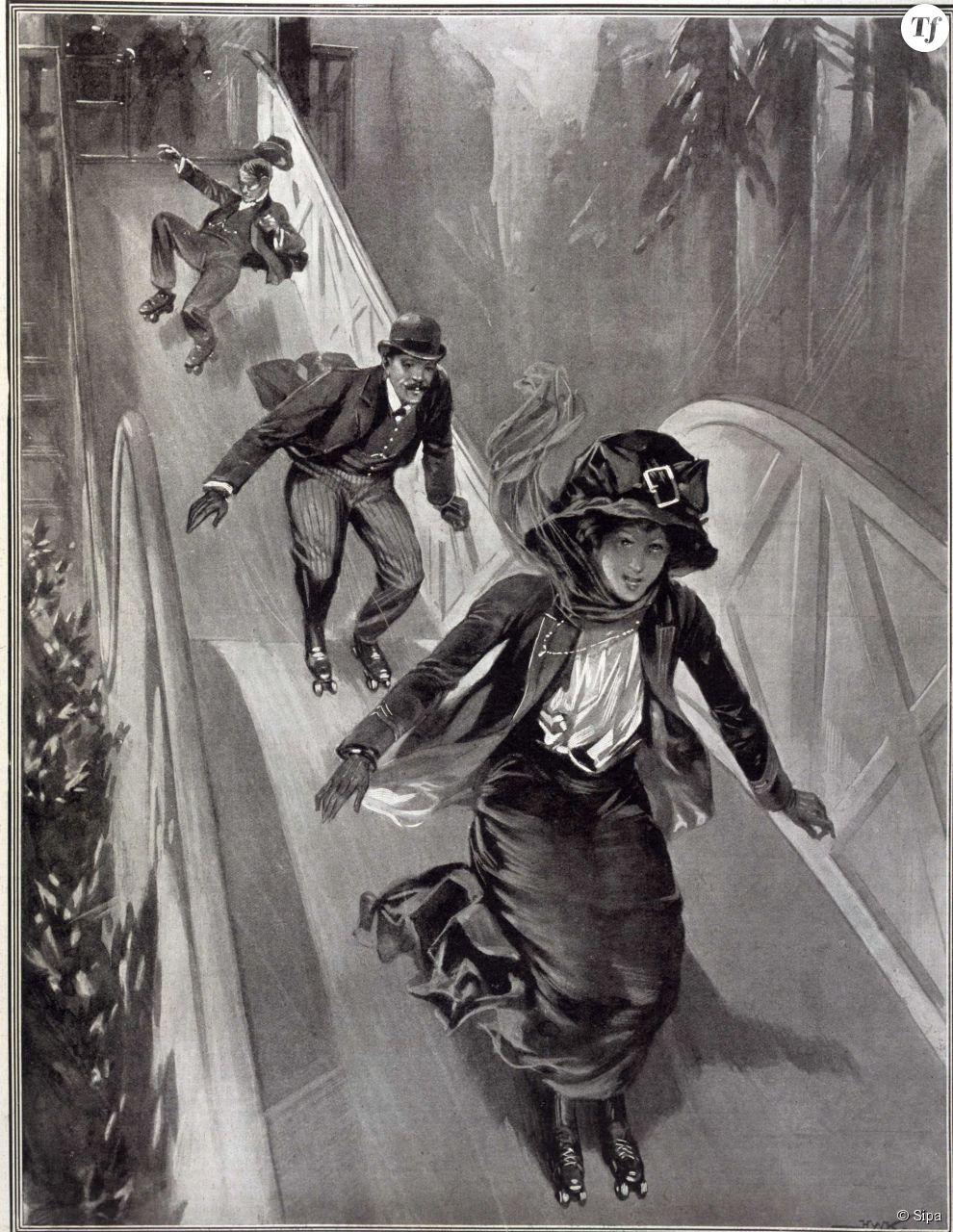 Des patineurs aventureux sur l'Empress Skating Rink qui se situait à Earl's Court, à Londres, en 1909. Jusqu'à 4200 patineurs pouvaient fréquentaient cet endroit.