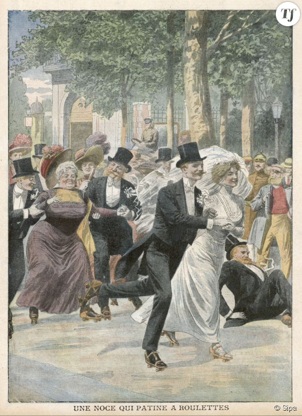 Un mariage sur roulettes à Berlin, publié dans Le Petit Journal illustré du 22 août 1909.