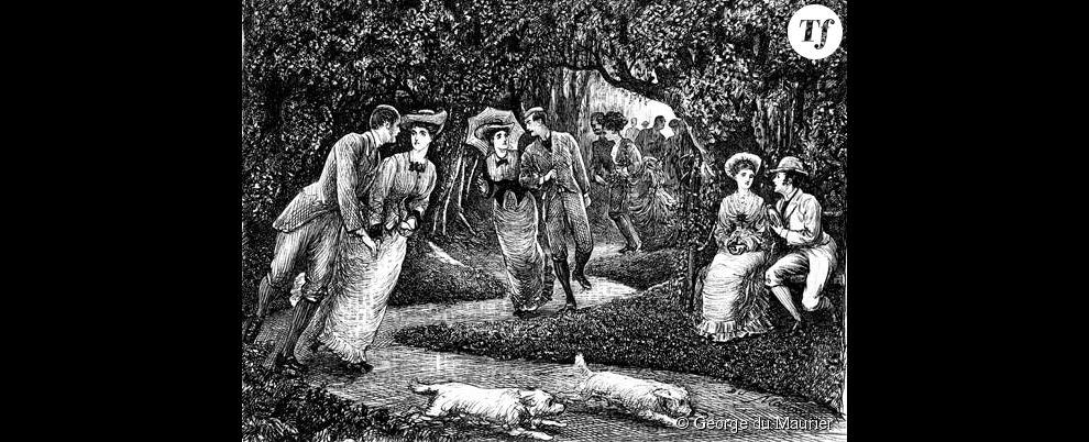 Des couples victoriens faisant du roller dans un parc, illustration de George du Maurier, 1876.