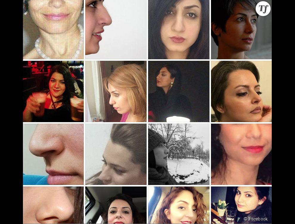 """Le groupe de féministe """"Les Iraniennes de près"""" a reçu des centaines de photos de nez naturels."""