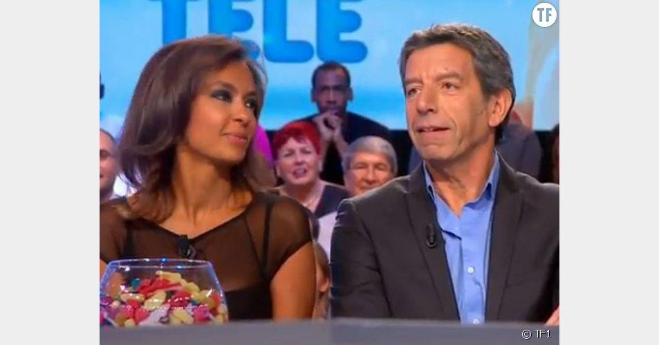 Michel Cymès et Karine Le Marchand sur le plateau des Enfants de la Télé.