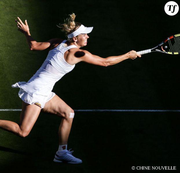 La joueuse danoise Caroline Wozniack le 1er juillet 2015 au tournoi de Wimbledon.