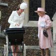 Catherine Kate Middleton, la duchesse de Cambridge et sa fille la princesse Charlotte de Cambridge, la reine Elisabeth II - Sorties après le baptême de la princesse Charlotte de Cambridge à l'église St. Mary Magdalene à Sandringham, le 5 juillet 2015.