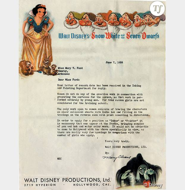 lettre walt disney Elle voulait dessiner pour les studios Disney, elle reçoit une  lettre walt disney