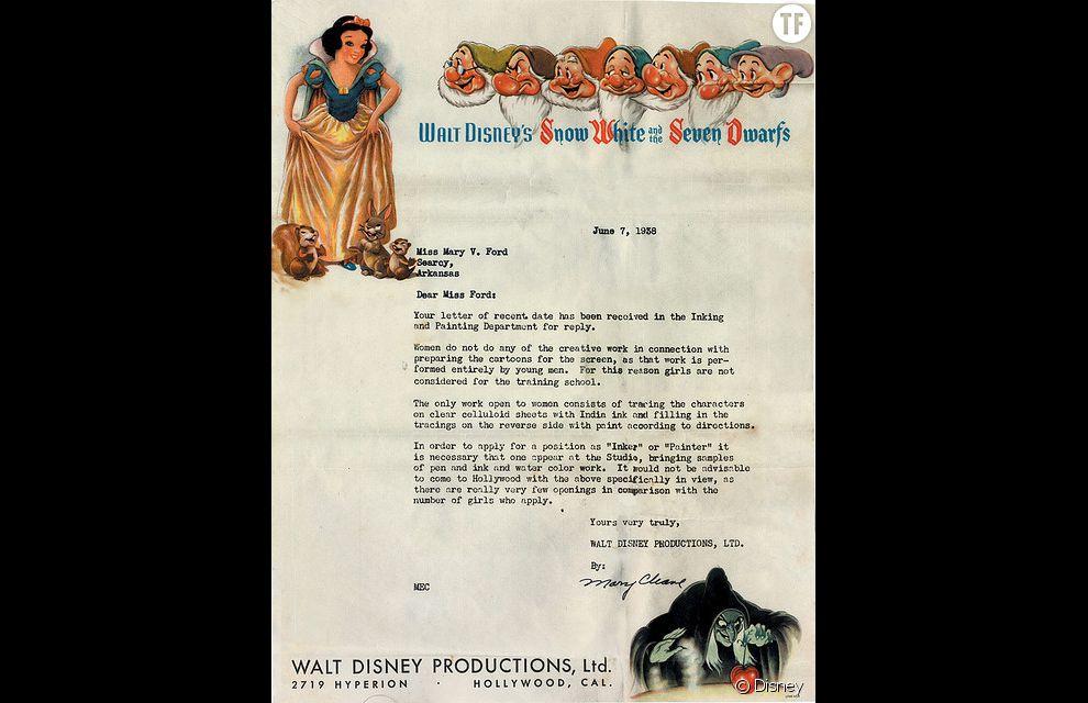 La fameuse lettre envoyée par les studios Disney à Mary V. Ford en 1938.