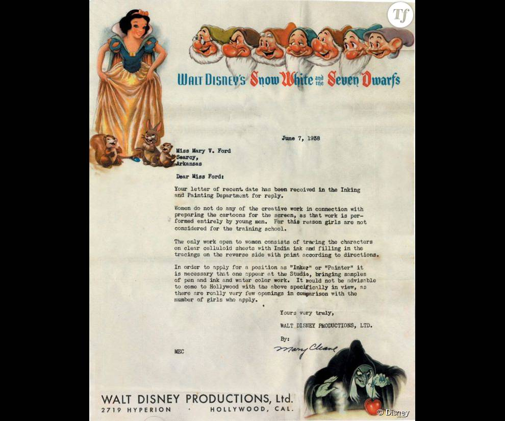 Lettre de rejet du studio Disney datant de 1938
