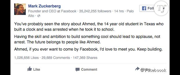 Le message posté par Mark Zuckerberg.