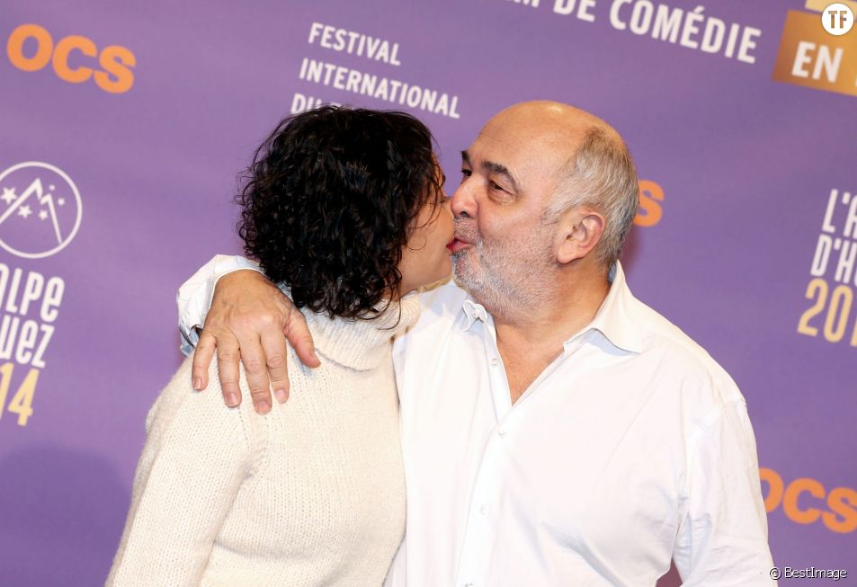 Gerard Jugnot et sa compagne Saida Jawad lors du 17eme Festival international du film de comedie de l'Alpe d'Huez, le 17 janvier 2014.