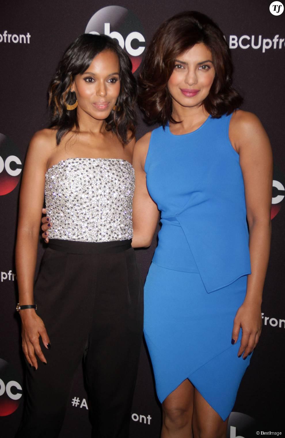 "Kerry Washington, Priyanka Chopra - Photocall de la soirée ""2015 ABC"" au Lincoln Center à New York. Le 12 mai 2015"