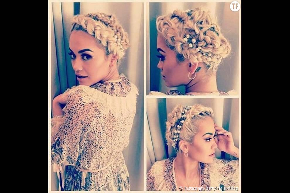 La chanteuse Rita Ora sa précieuse double couronne de tresses.