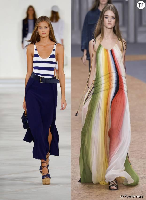Les rayures classiques chez Ralph Lauren (à gauche) et multicolore chez Chloé (à droite)