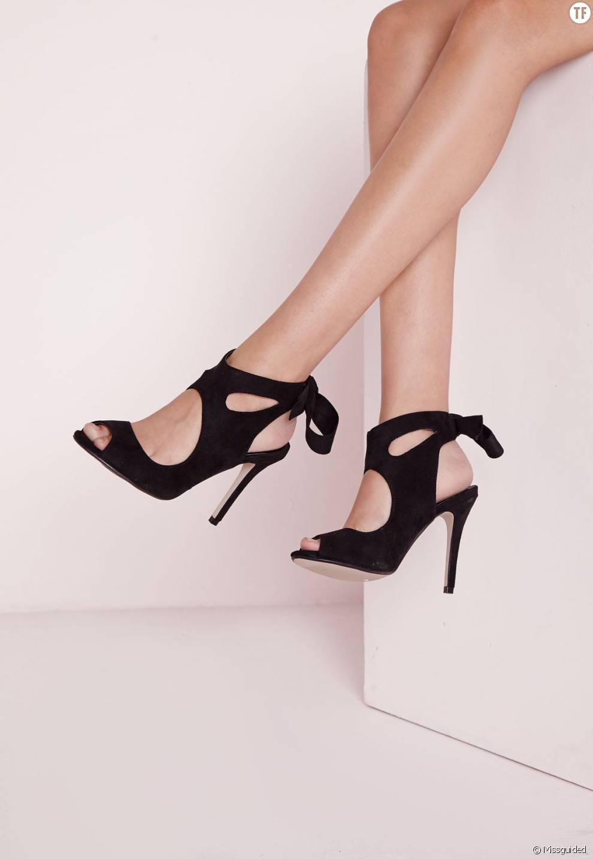 4a05c6f80045 Tendances chaussures printemps-été 2016 : quelles shoes à nos pieds ?  Sandales à talons lacées, 42 euros sur Missguided.