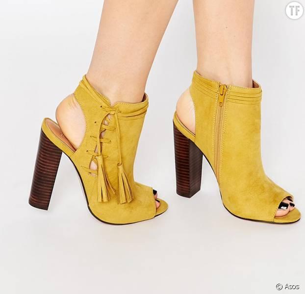 Sandales Femme Chaussures à Talons Compensées de Couleur Jaune 9GUxbdKbV