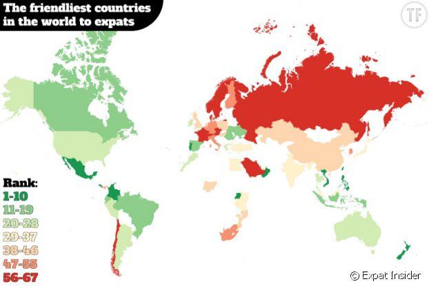 Voici la carte du monde des pays où il est le plus faciles de se faire des amis et les autres...