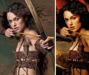 Photoshop : les seins de Keira Knightley grossis pour l'affiche du film Le Roi Arthur, en 2004. Ou comment donner la sensation que la beauté d'une femme ne tient que lorsqu'elle dépasse le bonnet B.