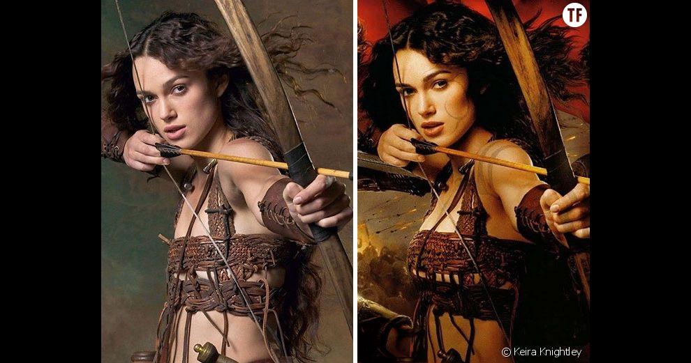 Photoshop : les seins de Keira Knightley grossis pour l'affiche du film  Le Roi Arthur , en 2004. Ou comment donner la sensation que la beauté d'une femme ne tient que lorsqu'elle dépasse le bonnet B.
