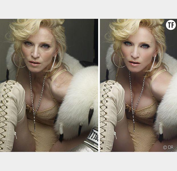 Madonna avant et après Photoshop