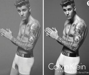 Avant/après : les photos retouchées de Justin Bieber pour la pub Calvin Klein, muscles gonflés et entrejambe considérablement grossi...