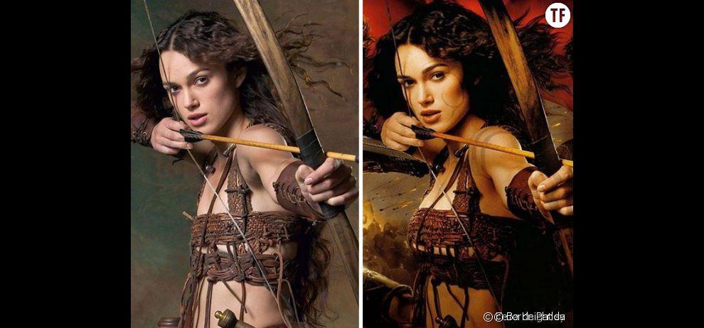 Avant/après Photoshop : la retouche photo des seins de Keira Knightley pour l'affiche du  Roi Arthur  en 2004