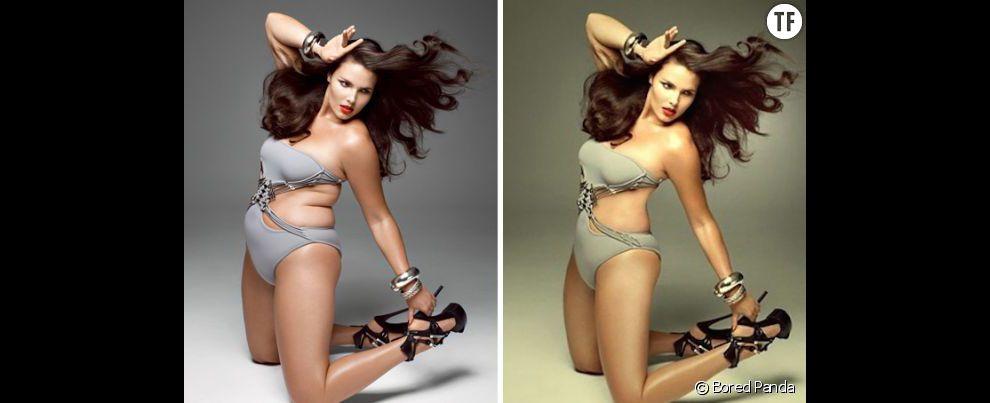 Photoshop : avant/après retouche sur une photo du mannequin grande taille Candice Huffine