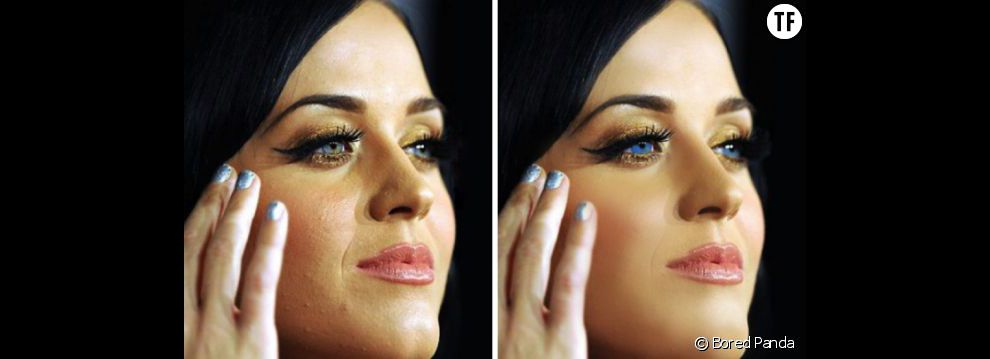 Avant/après : quand Photoshop fait disparaître les petits boutons de Katy Perry
