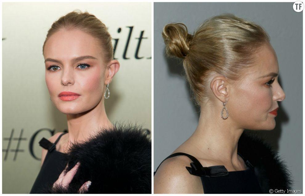 Coiffure Noël 2016 : Kate Bosworth mise sur un chignon un brin flou