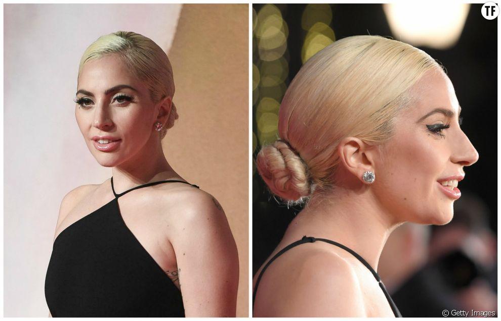 Coiffure Noël 2016 : Lady Gaga porte son chignon bas dans la nuque pour un résultat glamour