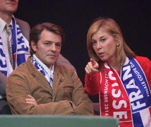 François Baroin et Michèle Laroque à la finale de la Coupe Davis au Stade Pierre Mauroy de Lille Métropole.
