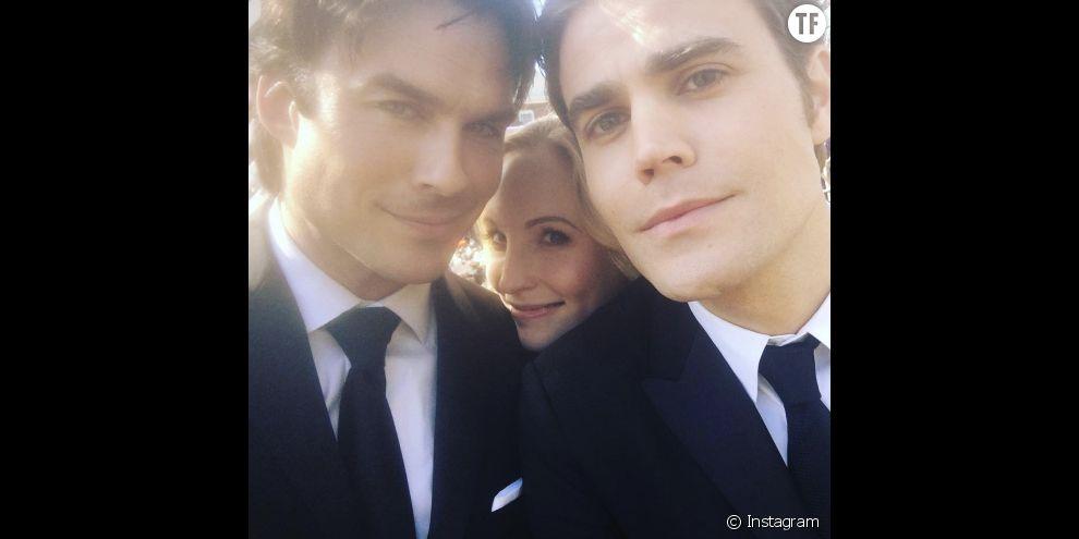 Ian Somehalder, Paul Wesley et Candice Accola sur le tournage du series finale de Vampire Diaries