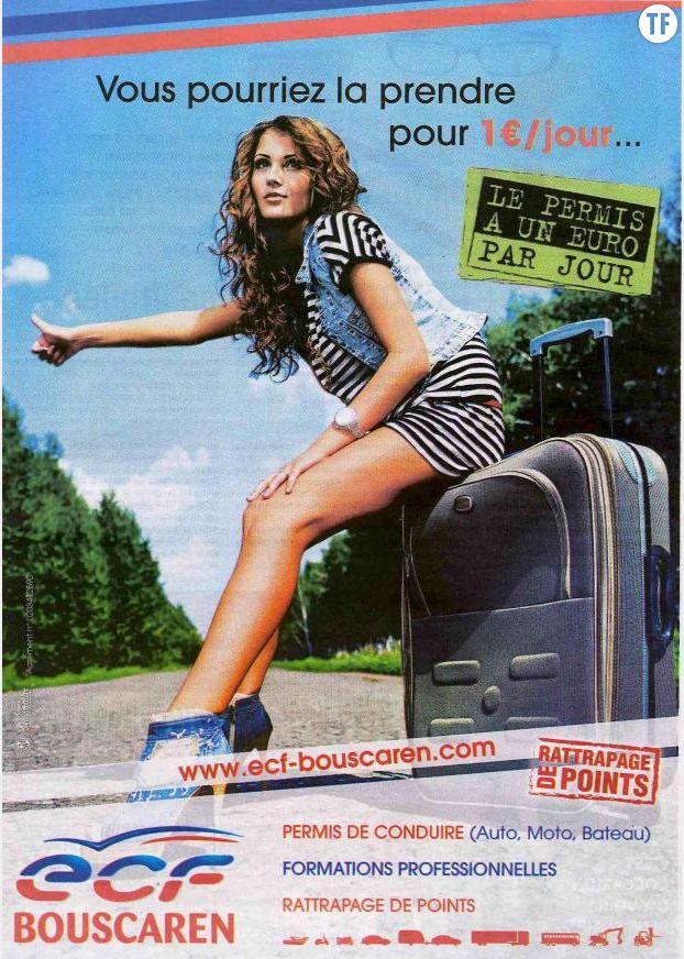Un autre exemple de publicité sexiste, cette fois-ci pour une auto-école