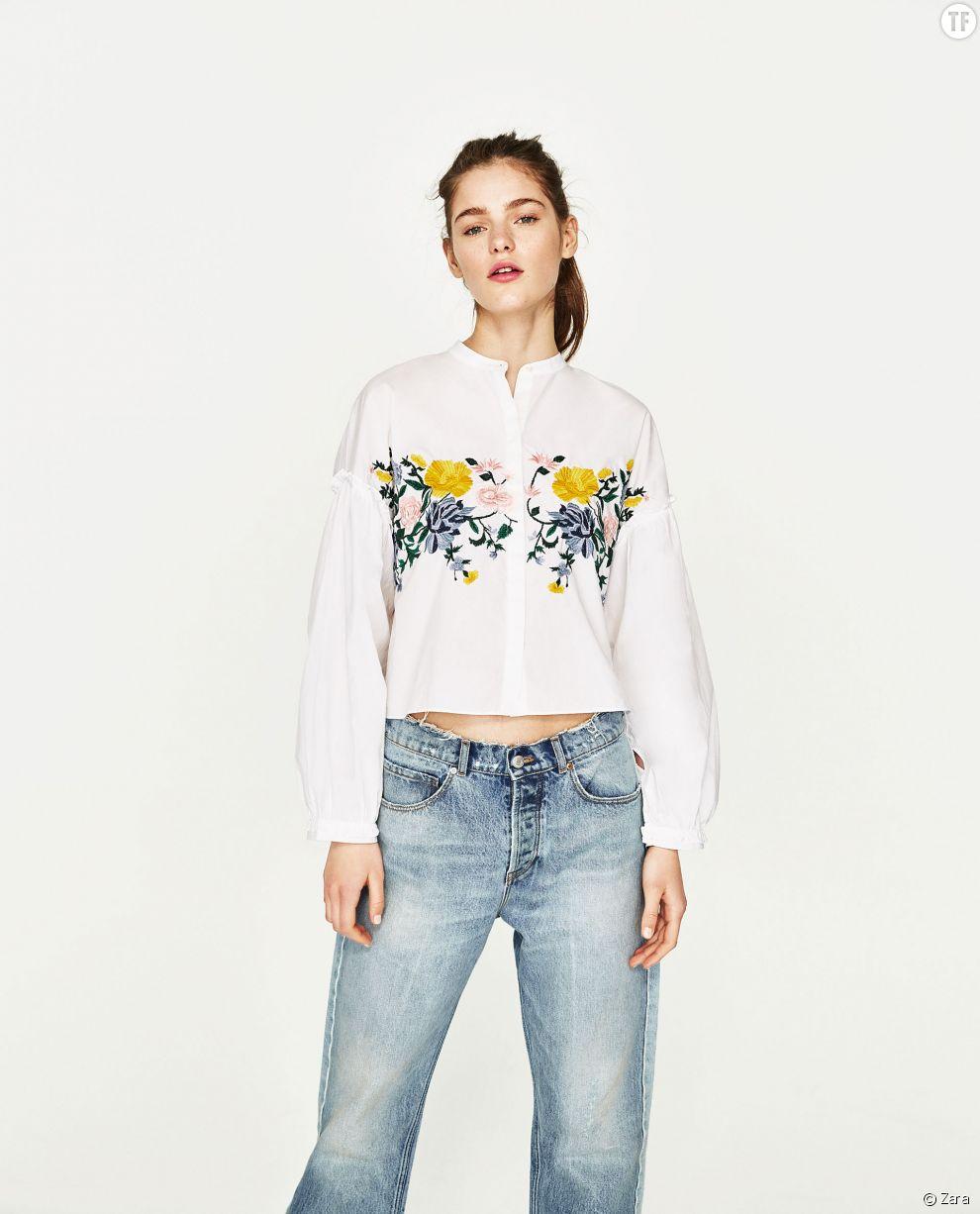 Chemise brodée de fleurs Zara, 19,99€