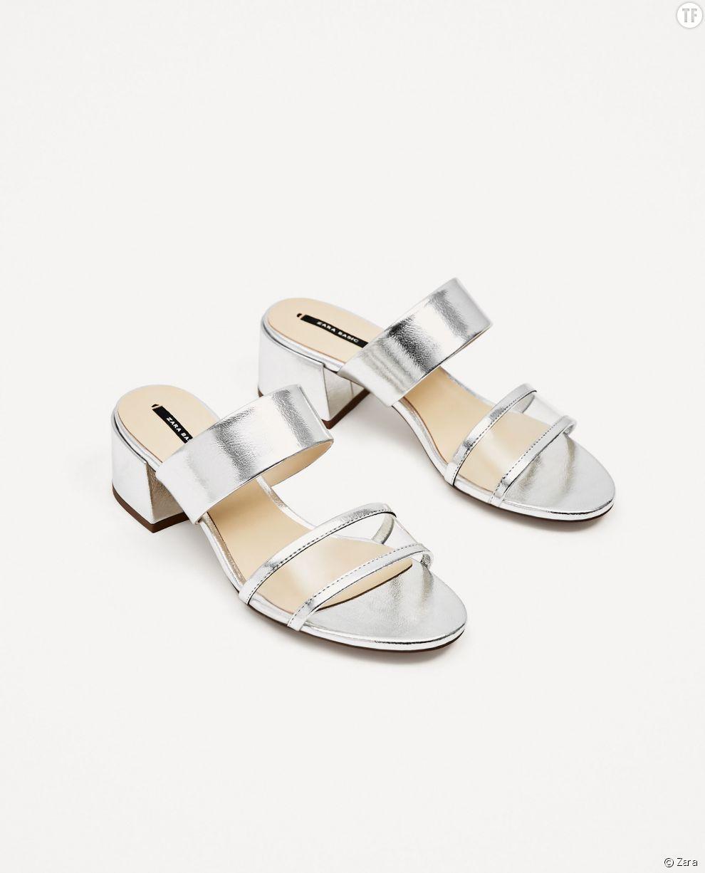 Mules argentées Zara, 12,99€