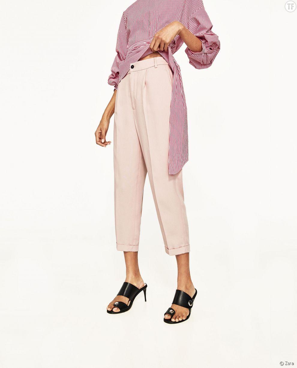 Pantalon 7/8 rose poudré Zara, 29,99€