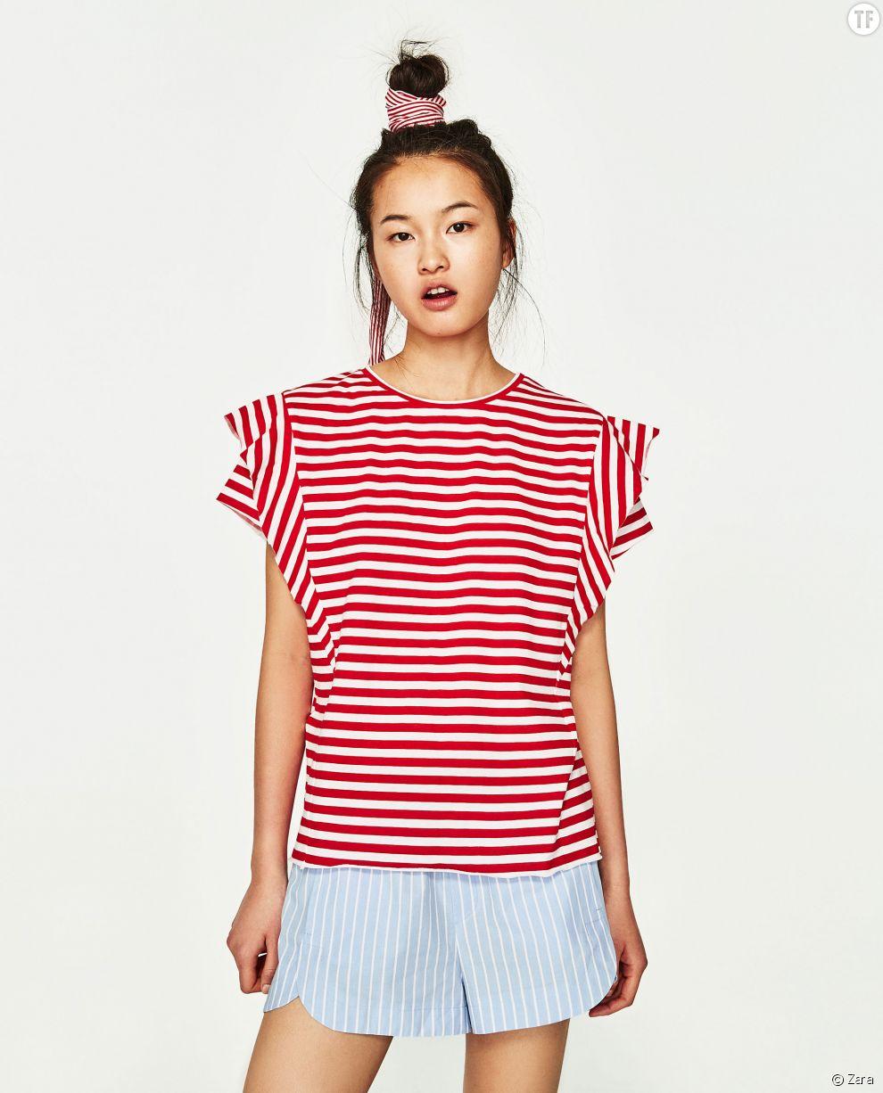 T-shirt à manches à volants Zara, 5,99€