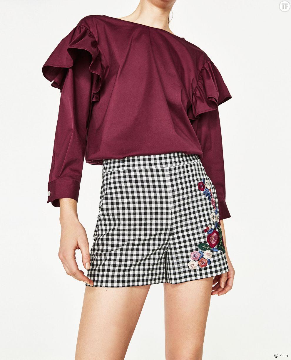 Short taille haute vichy Zara, 19,99€