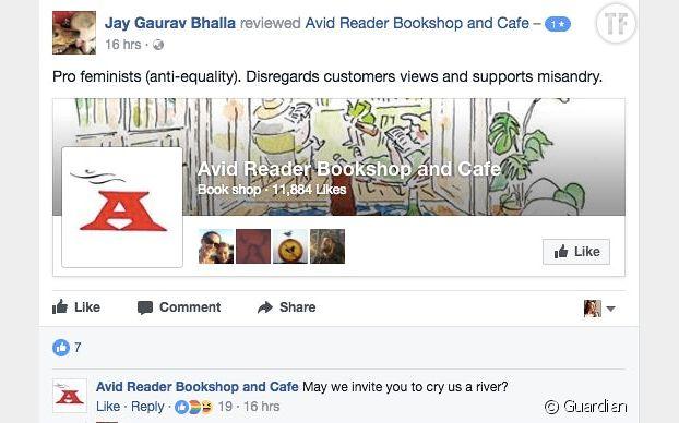 Capture d'écran de la page Facebook d'Avid Reader