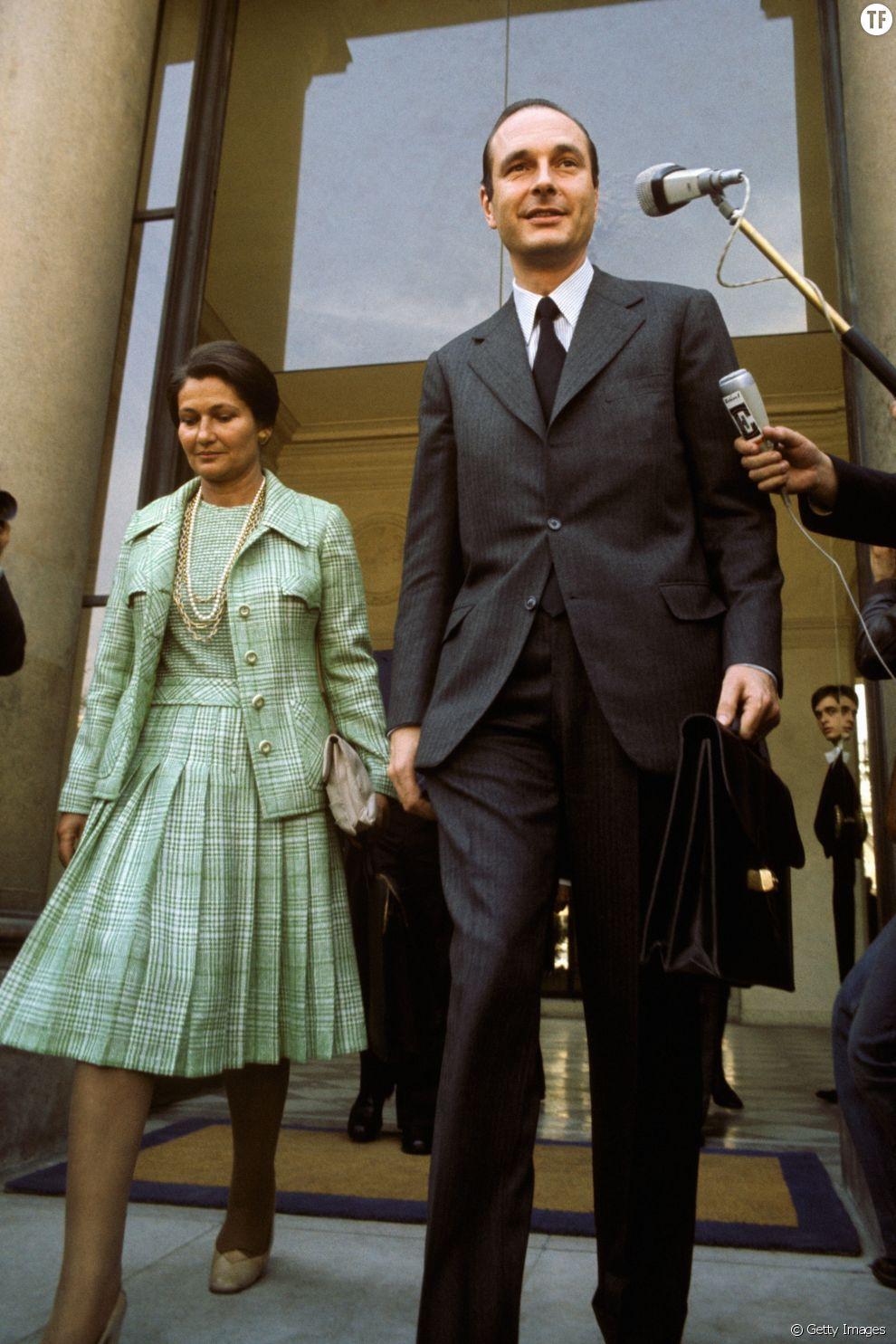 Simone Veil et Jacques Chirac à Paris en 1974