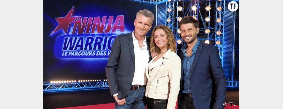 Christophe Beaugrand, Denis Brogniart et Sandrine Quétier dans Ninja Warrior 2017