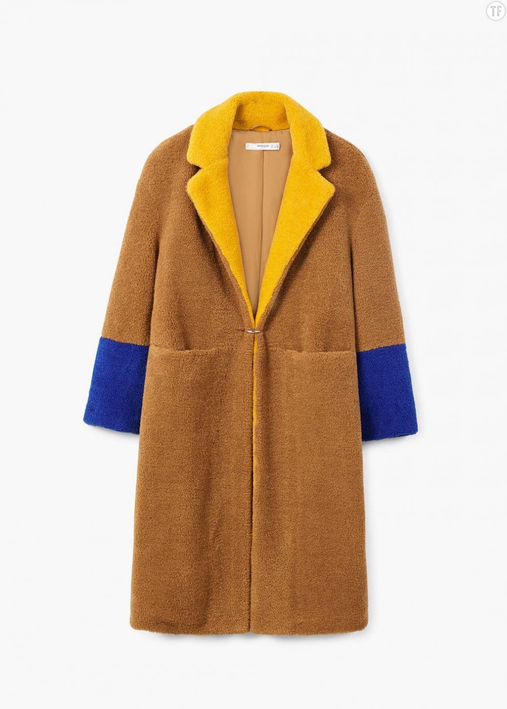 Manteau en peau lainée tricolore Mango, 79,99€