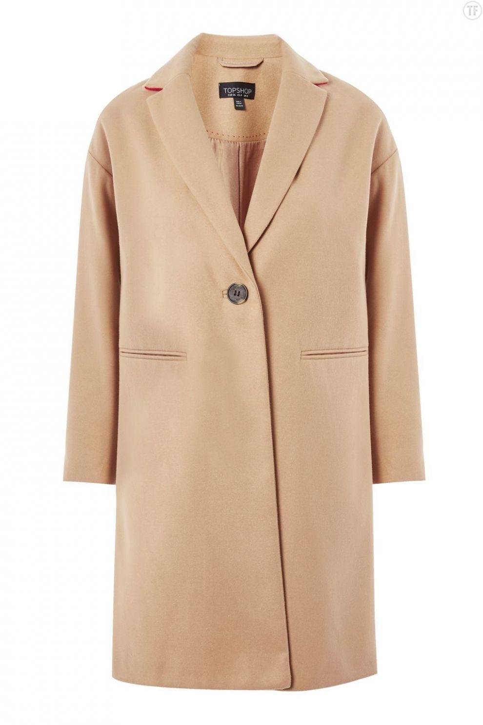 Manteau droit camel Topshop, 80€