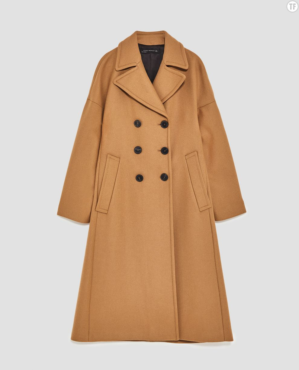 Manteau long camel Zara, 139€