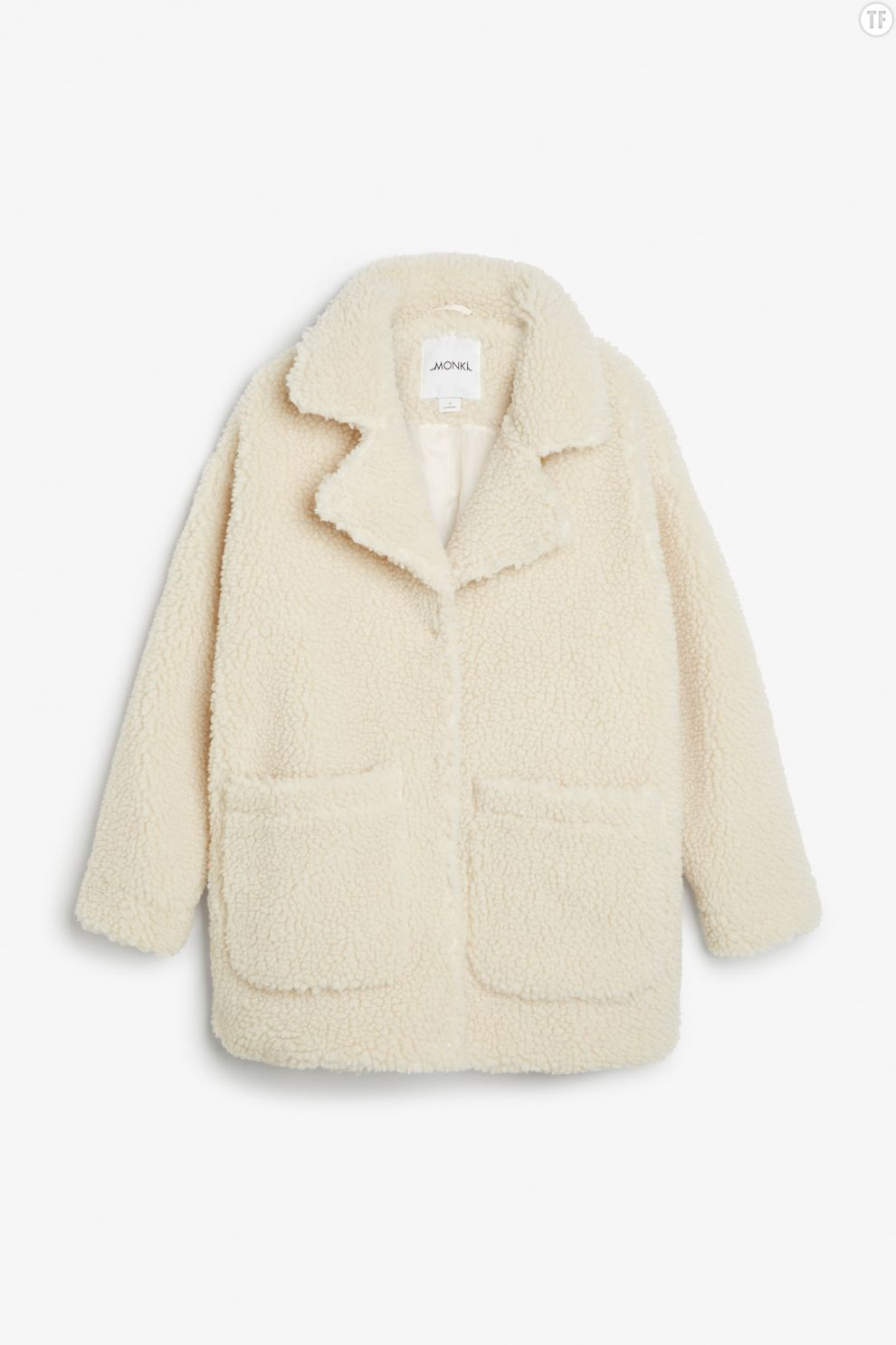 Manteau cocon en sherling Monki, 70€