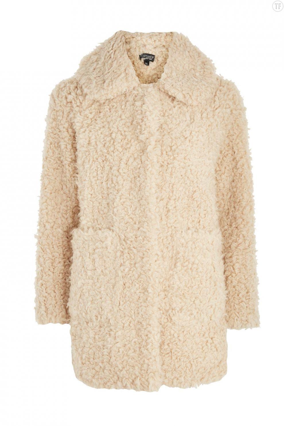 Manteau droit en sherling Topshop, 125€