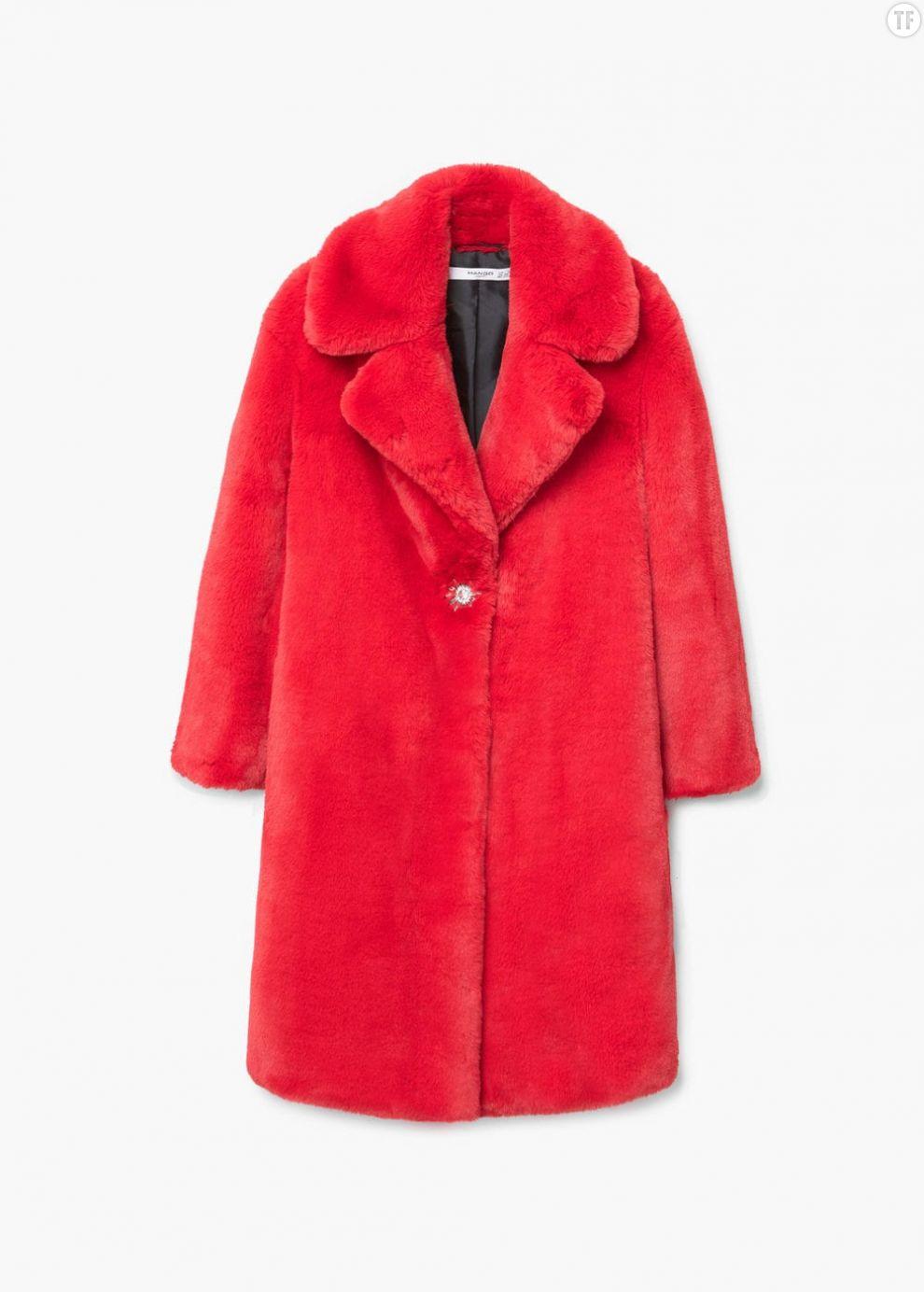 Manteau rouge en fourrure synthétique Mango, 119,99€