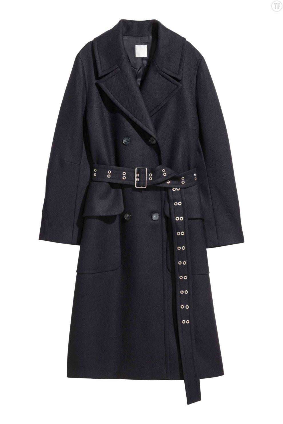 Manteau bleu foncé ceinturé H&M, 199€