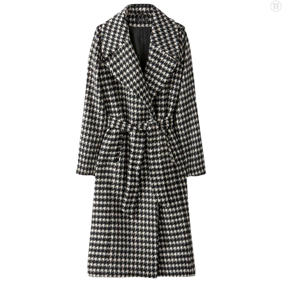 Manteau pied de poule ceinturé La Redoute, 149,99€