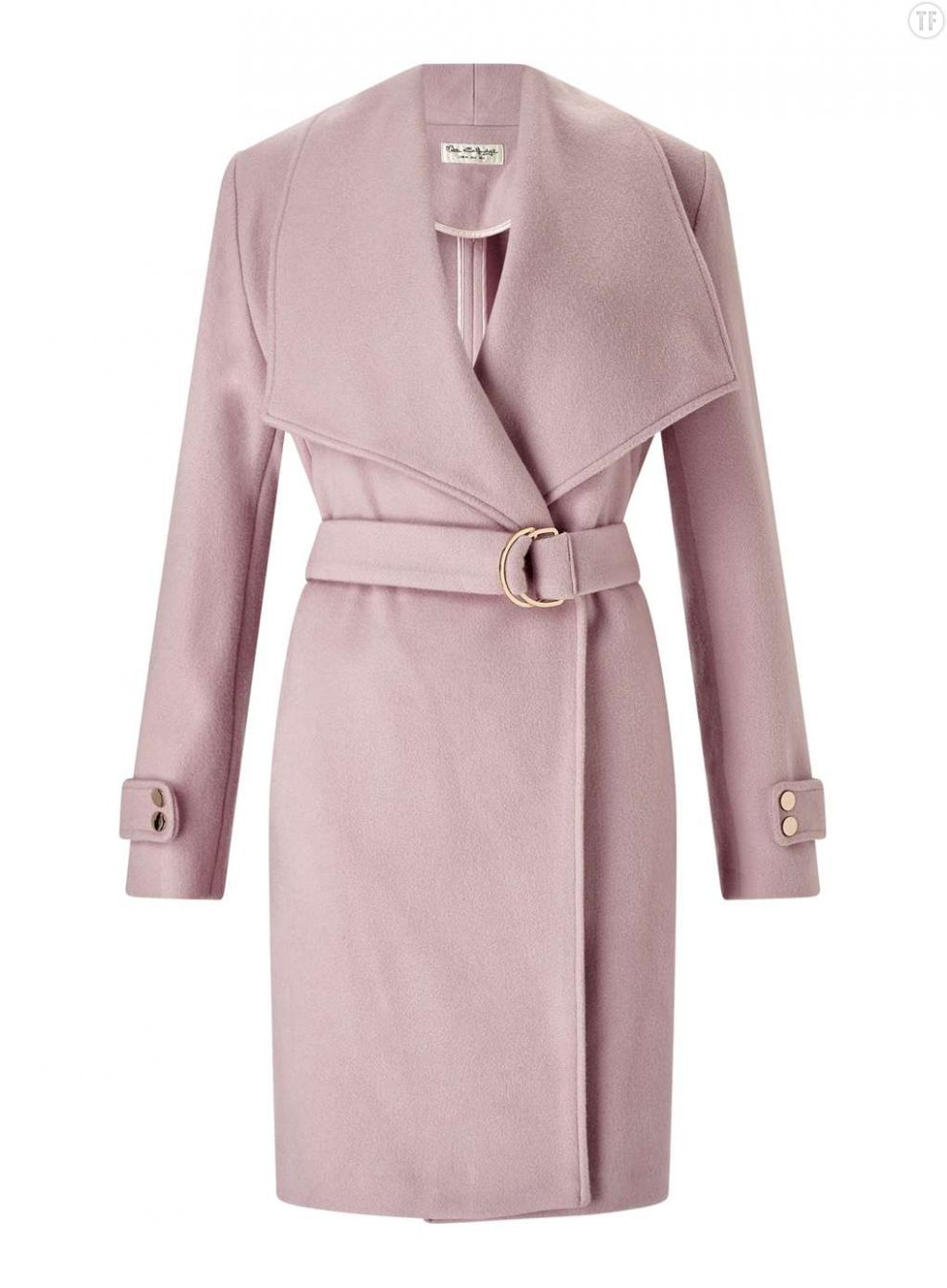 Manteau rose pastel ceinturé Miss Selfridge, 79€