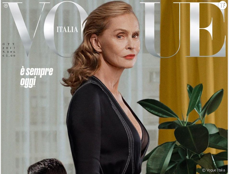 Lauren Hutton en couverture de Vogue Italia à 73 ans.