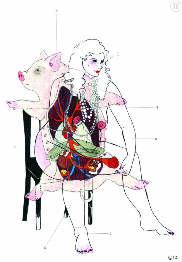 "Oeuvre de Tamina Beausoleil, allusion à l'insulte ""cochonne""."