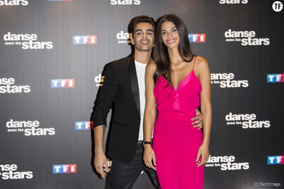 "Tatiana Silva et son danseur Christophe Licata dans ""Danse avec les Stars"", au siège de TF1."